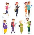 Characters with gadgets. Man woman kids internet chatting by smartphones tablets smart pad cartoon vector people Royalty Free Stock Photo