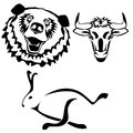 Characters hare bull bear symbols funny the running and the Royalty Free Stock Photos