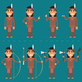 Characters Indian in various poses Royalty Free Stock Photo