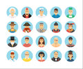 Characters and persons icons collection. Icons set illustrating people occupations, lifestyles, nations and cultures. Royalty Free Stock Photo