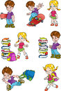Characters schoolchild the illustration shows the of its a boy and a girl the boy board for skateboard and school bag girl with a Royalty Free Stock Image