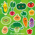 Characters of smiling cute vegetables