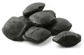 Charcoal briquetts coco on white Stock Image