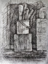 Charcoal drawing composition with black on manila paper Royalty Free Stock Photography