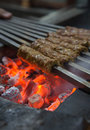 Charcoal kebab tikka shish kofta kebabs on barbeque Stock Photo