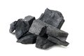 Charcoal many pieces of isolated on white background Royalty Free Stock Photo