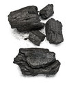 Charcoal many pieces of isolated on white background Stock Photo