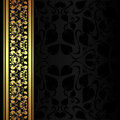 Charcoal ornamental background with golden border is presented Royalty Free Stock Photography