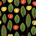 Chard and tomatoes, seamless vector pattern Royalty Free Stock Photo