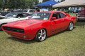 Charger st liboire august front side view of red dodge custom replica at mopar convention Stock Image