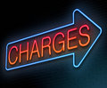 Charges concept illustration depicting an illuminated neon sign with a Royalty Free Stock Photos
