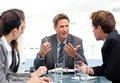 Charismatic chairman talking with his team Royalty Free Stock Photo