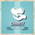 Charity on Blue Striped Background in Flat Design. Royalty Free Stock Images