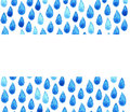 Charity clean Water poster. Watercolor rainy hand painted illustration. Raindrop seamless background Royalty Free Stock Photo