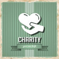 Charity concept on green in flat design with icon of heart hand striped background vintage Stock Images