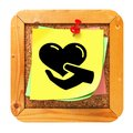 Charity Concept - Yellow Sticker on Message Board. Royalty Free Stock Photo