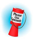 Charity donation collecting box over blue traditional style red Stock Image
