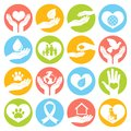 Charity and donation icons white social services volunteer round buttons set isolated vector illustration Stock Images