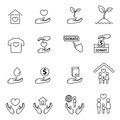 Charity and donation line icons set Royalty Free Stock Photo