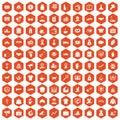 100 charity icons hexagon orange