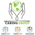 Charity logo world map hand people symbol Royalty Free Stock Photography