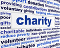 Charity social issue message voluntary giving creative words design Stock Photo