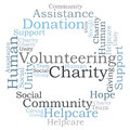 Charity word cloud volunteering and Stock Photos