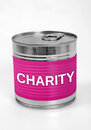 Charity word food can with Royalty Free Stock Image