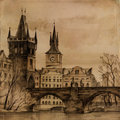 Charles Bridge in art Royalty Free Stock Photo
