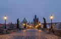 Charles bridge at dawn view across prague czech republic Royalty Free Stock Photos