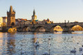 Charles Bridge with late afternoon sun, Prague, Czech Republic Royalty Free Stock Photo