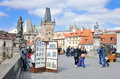Charles Bridge with many artists and crafstmen selling their art Royalty Free Stock Photo