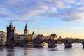 Charles bridge, Moldau river, Lesser town, Prague castle, Prague (UNESCO), Czech republic Royalty Free Stock Photo