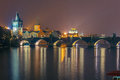 Charles Bridge at night in Prague, Czech Republic Royalty Free Stock Photo