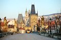 Charles bridge och lesser town tower prague Arkivfoton