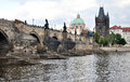 Charles bridge prague czech republic europe and the vltava river Royalty Free Stock Photo