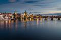 Charles bridge prague czech republic long time exposure picture of over vltava river in the evening Stock Photos