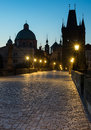 Charles bridge in prague at dawn Royalty Free Stock Photography