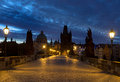 Charles bridge in prague at dawn Stock Photos