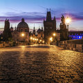 Charles bridge in prague at dawn czech republic Royalty Free Stock Image