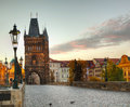 Charles bridge in Prague early in the morning Royalty Free Stock Images