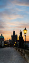 Charles bridge in prague early morning Royalty Free Stock Photo