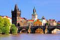 Charles bridge prague famous and tower czech republic Stock Photos