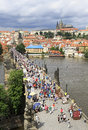 Charles bridge in prague medieval over the river vltava Stock Images
