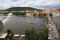 Charles bridge in prague medieval over the river vltava Stock Photography