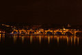 Charles Bridge in Prague at night Royalty Free Stock Photo
