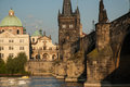 Charles bridge prague and the vltava river at sunset Royalty Free Stock Photos