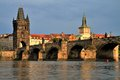 Charles bridge at sunset prague czech republic Stock Photo