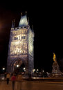 Charles bridge tower at night, Prague Royalty Free Stock Photo