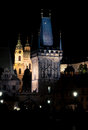 Charles bridge tower, night Prague Royalty Free Stock Photo